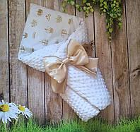 Конверт на выписку с кружевом, плюшевый конверт-одеяло для новорожденного, детский плед
