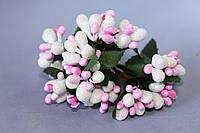 Декоративные веточки с тычинками около 144 шт/уп. в глитерной обсыпке белый с розовым оптом, фото 1