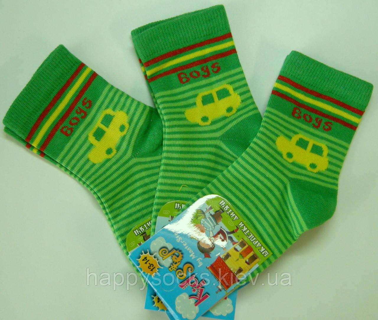 Детские носки салатовые машинка