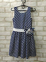 Сукня дитяче для дівчинки у великий горох з бантом розмір 4-7 років, синього кольору