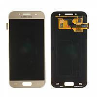 Дисплей (LCD) Samsung A320 Galaxy A3 (2017) OLED с тачскрином, золотистый, Gold Sand