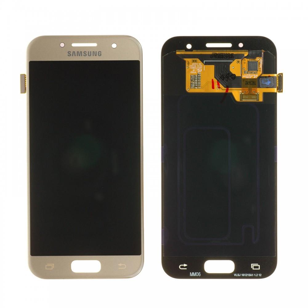 Дисплей (LCD) Samsung A320 Galaxy A3 (2017) AMOLED с тачскрином, золотистый, Gold Sand, оригинал (PRC)