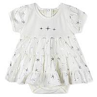 Боди-платье для девочки, белое. Звезды.