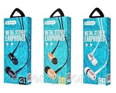 ОПТ Дротові навушники вакуумні Celebrat G1 з мікрофоном