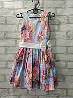 Плаття дитяче квіточку для дівчинки з бантом на поясі розмір 4-7 років, рожевого кольору