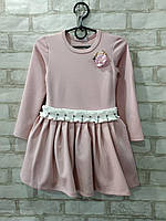 Платье детское однотонное для девочки с цветком и поясом с бусинами размер 4-7лет, светло-розового цвета