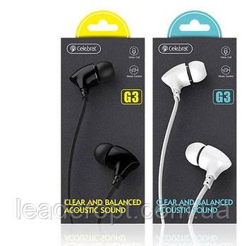 ОПТ Дротові навушники вакуумні Celebrat G3 Clear And Balanced Acoustic Sound з мікрофоном