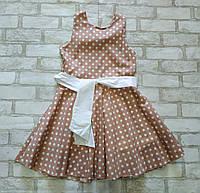 Підліткове плаття для дівчинки в горох з поясом розмір 7-10 років, бежевого кольору