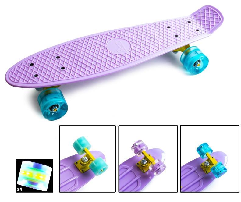 """Скейт скейтборд пенни борд 22"""" светящиеся колеса лиловый"""