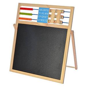 Доска деревянная A03288 двухсторонняя (магн/рис), счеты, цифры,мел), фото 2