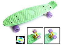 """Пенни борд скейт со светящимися колесами 22"""" мятный, фото 1"""