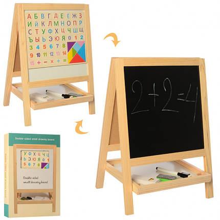Двухсторонняя деревянная доска - мольберт с магнитиками, маркером и мелками, фото 2