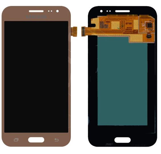 Дисплей (экран) для Samsung J200F Galaxy J2 с сенсором (тачскрином) золотистый с регулировкой (TFT)