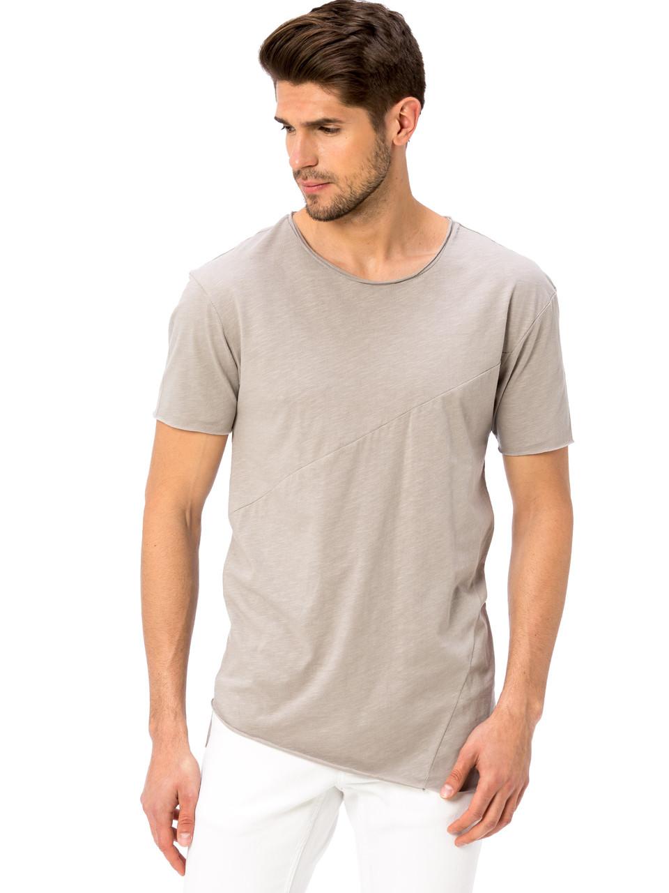 Бежевая мужская футболка LC Waikiki / ЛС Вайкики с ассиметричными швами