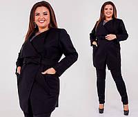 Укороченное кашемировое пальто для полных черное