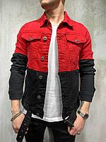 Джинсовка мужская красно-чёрный  на пуговицах пиджак джинсовый мужской красно-чёрный XL размер