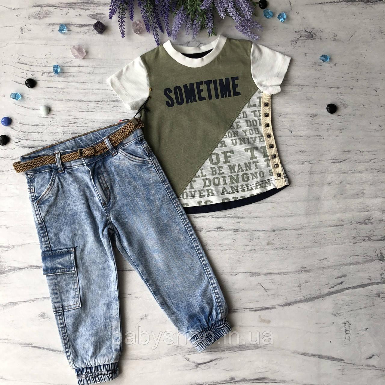 Летний джинсовый костюм на мальчика 21. Размер  1 год (86 см), 2 года, 3 года, 4 года