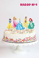 """Набір №1 """"Принцеси Дісней"""" (8см, 5шт./уп.) середні топпери в торт вирубка -"""