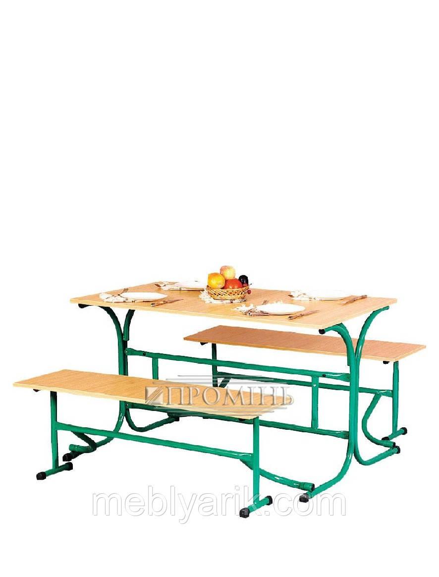 Стол для столовых с роскладными лавками