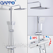 Душова система з верхнім душем, термостатом і ручної лійкою - хром Gappo Furai G2419, фото 2