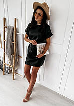 Платье черное классические средней длины миди, короткими рукавами, фото 3