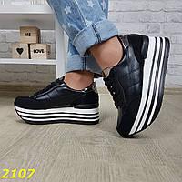 Кроссовки черные на высокой платформе, фото 1