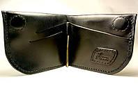 Кожаный мужской кошелек, шкіряний гаманець. Кошелек на магните, зажим для денег/тонкий міні гаманець