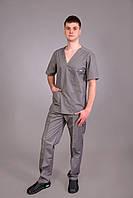 Медицинский мужской костюм хирурга (р.44-58) Темно-серый