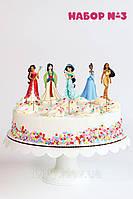 """Набор №3 """"Принцессы Дисней"""" (8см, 5шт./уп.) Набор средние топперы в торт вырубка - КАРТОН"""
