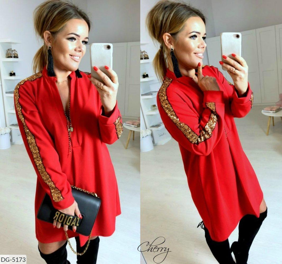 Женское  платье, рукав украшен золотой пайеткой. Цвета: черный и красный. Размеры: 42-46.