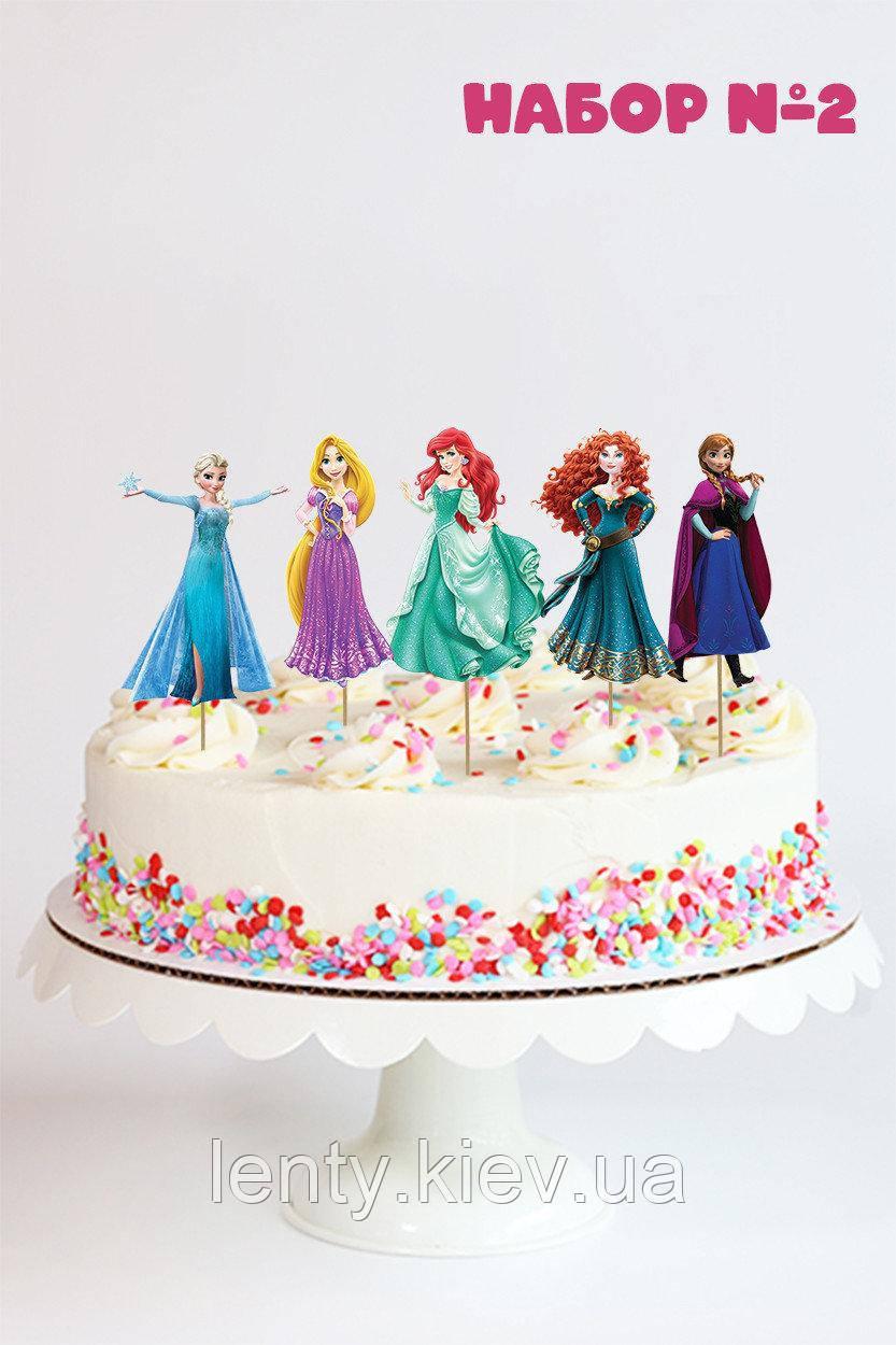 """Набор №2 """"Принцессы Дисней"""" (8см, 5шт./уп.) Набор средние топперы в торт вырубка -"""