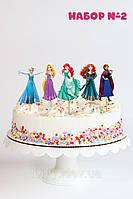 """Набір №2 """"Принцеси Дісней"""" (8см, 5шт./уп.) Набір середні топпери в торт вирубка -"""