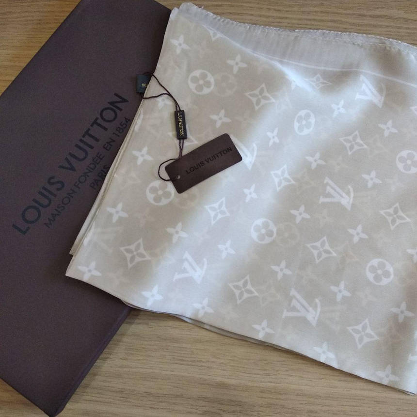 Платок Louis Vuitton шелк бежевый, фото 2