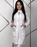 Медицинский женский халат платье со стойкой (р.40-60) Белое