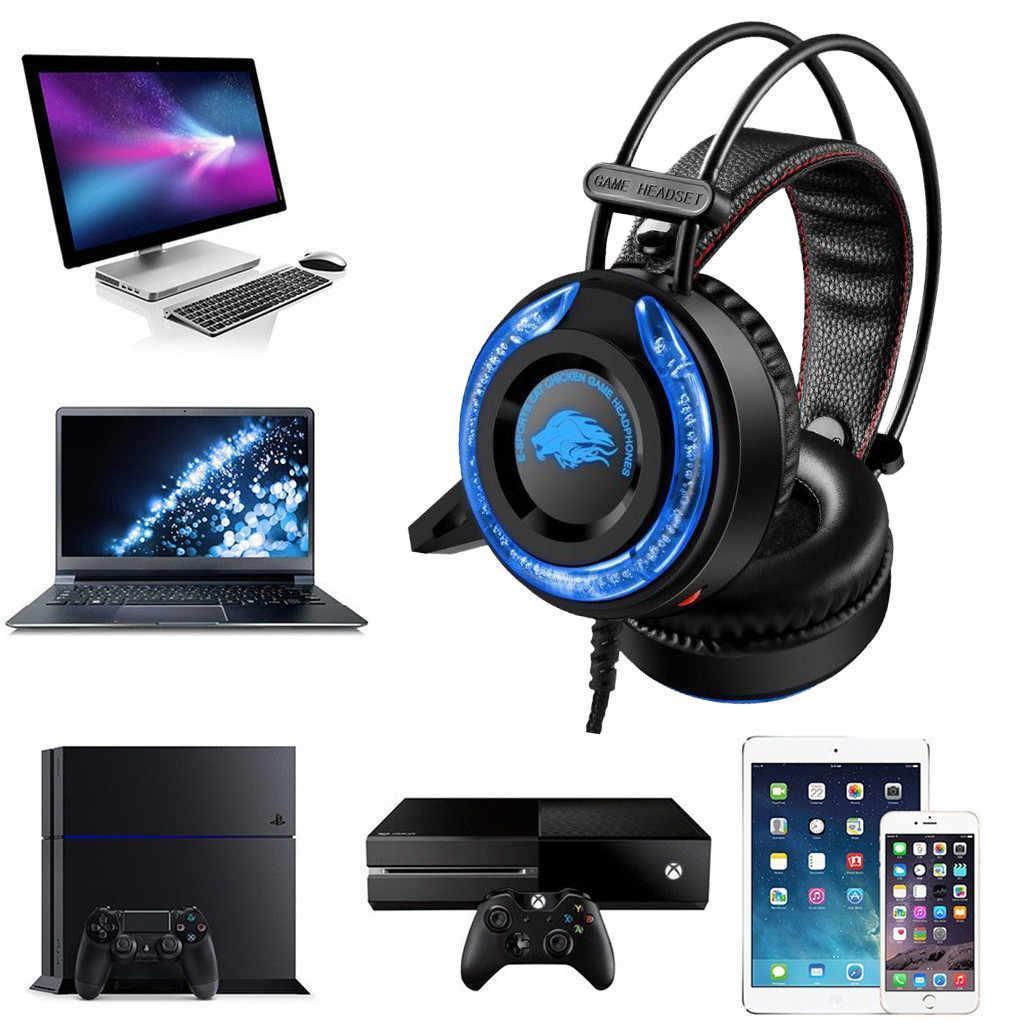 Игровые наушники A5 со светодиодной подсветкой и микрофоном - проводные компьютерные наушники USB, AUX, черные