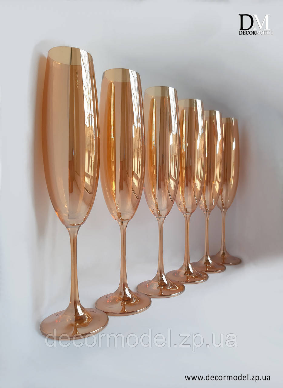 Набор бокалов для шампанского Bohemia Milvus 250 ml (цвет: ЯНТАРНЫЙ)