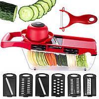 Овощерезка терка Mandoline Slicer 6 в 1 мультислайсер для кухни нарезка овощей фруктов кухонный аксессуар
