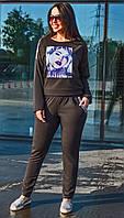 Стильный женский трикотажный прогулочный батальный спортивный костюм с нашивкой р.48-58. Арт-1862/3