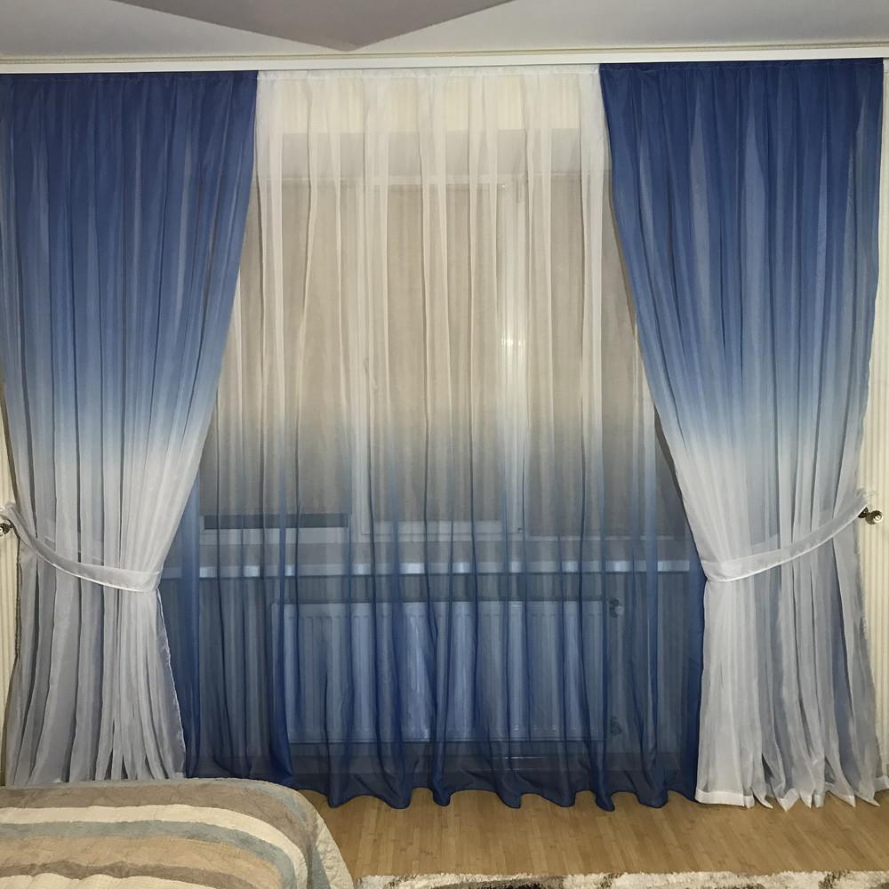 Готовий Комплект Тюль і штори на 3-х метровий карниз «Шифон-розтяжка» Омбре Карнавал Градієнт Синього кольору