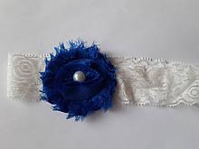 Кружевная детская повязка синяя - окружность 36-44см, цветок 6см