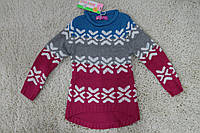 Вязаный свитер для девочек 4-6 лет малиновый,серый,бежевый