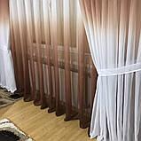 Комплект штор на 3-х метровый карниз «Батист-растяжка» (коричневого цвета), фото 4