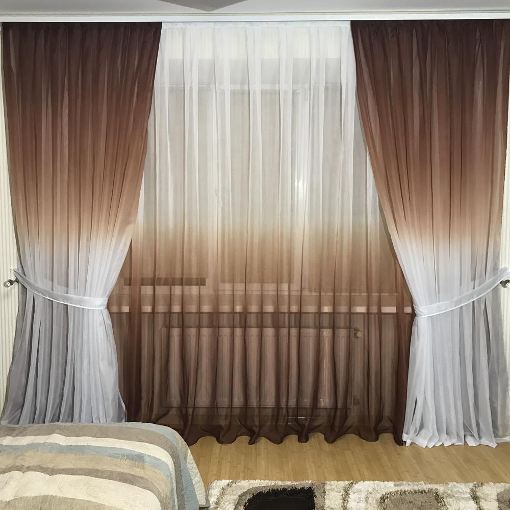Комплект штор на 3-х метровый карниз «Батист-растяжка» (коричневого цвета)