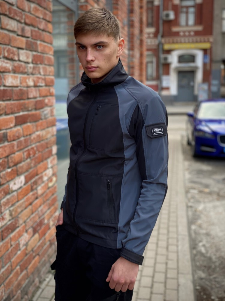 Мужская куртка ветровка Intruder 20976 серо-черная