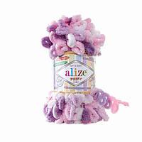 Турецкая пряжа для вязания Alize Puffy Color (пуффи колор) пряжа вяжется руками 6077