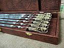 """Шампура подарочные с бронзовыми ручками """"Дикий кабан"""" в кейсе из эко-кожи, фото 3"""