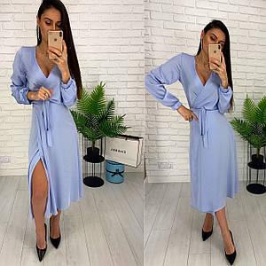 Элегантное платье миди на запах с глубоким декольте 42-46 р