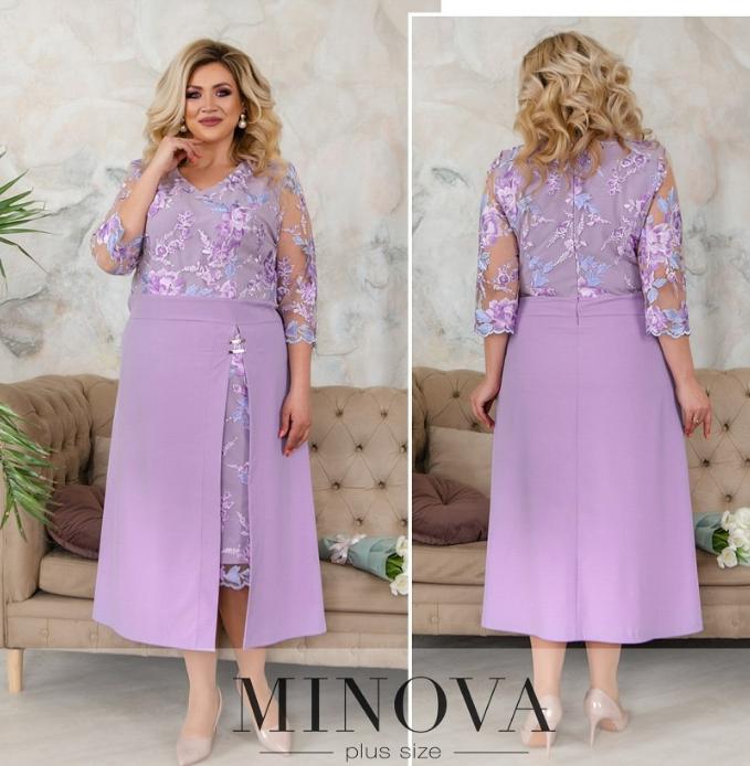 Нарядное вечернее платье батал с ажурной сеточкой Minova Фабрика моды Размеры: 50-52, 52-54, 54-56, 56-58