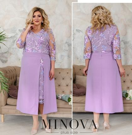 Нарядное вечернее платье батал с ажурной сеточкой Minova Фабрика моды Размеры: 50-52, 52-54, 54-56, 56-58, фото 2