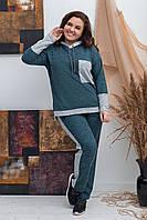 Стильний жіночий батальний ангоровыый спортивний костюм з капюшоном на батнике (р. 50-60). Арт-1867/3